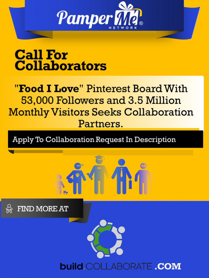 Collaborators Required For Food I Love Pinterest Board - Target 53,000 Followers and 3.5 Million Monthly Visitors