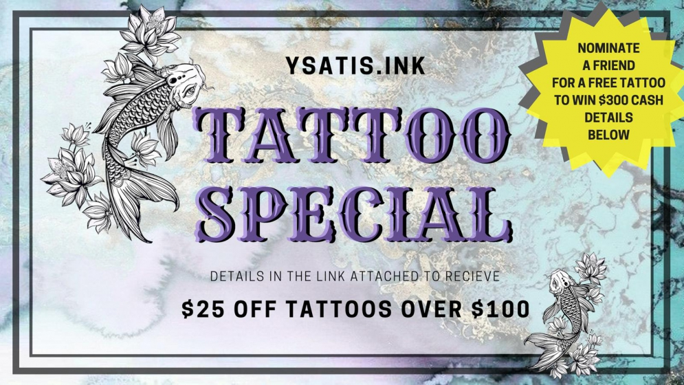 You Think It, I Ink It. Nominate A Friend For A Free #Tattoo And Receive $300 Cash If Chosen @ysatis.ink @chardxnnay_ #ink #tatts #tattooist #tattoolove
